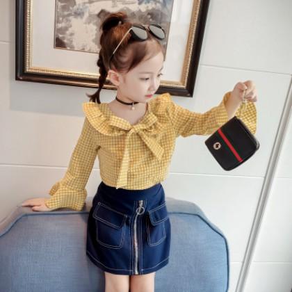 Kids Children Girl Yellow Long Sleeve Ribbon Grid T-Shirt Blouse Tops