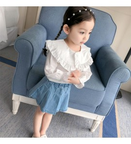 Kids Children Girl Cute Korean White Formal Long Sleeve Tops T-Shirt Blouse