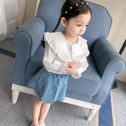 Kids Children Girl Cute Korean White Formal Long Sleeve Tops T-Shirt Blouse