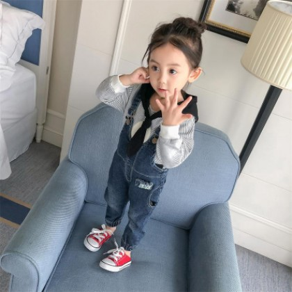 Kids Children Girl Casual Pockets Straps Denim Jeans Long Pants Trousers