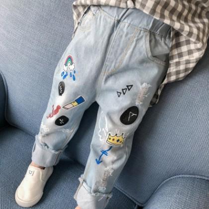 Kids Children Girl Casual Cartoon Pockets Denim Jeans Long Pants Trousers