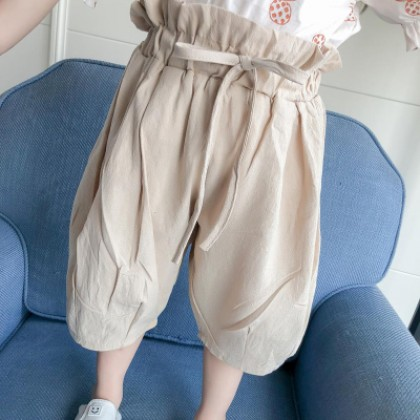 Kids Children Girl Casual Beige Harem Loose Bloomers Long Pants Trousers
