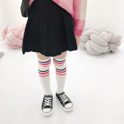 Kids Children Girl Casual Cosplay Plain Color Pleated Student Mini Short Skirts