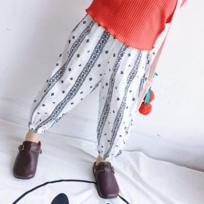 Kids Children Girl Casual Loose Graphic Harem Long Pants Trousers