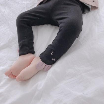 Kids Children Girl Black Rabbit Slim Elastic Leggings Long Pants Trousers