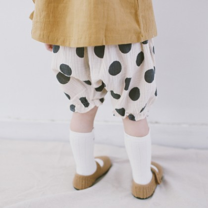 Kids Children Girl Casual Milk Cow Dots Elastic Waist Short Pants Trousers