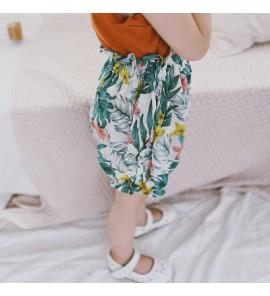 Kids Children Girl Casual Green Forest Elastic Waist Short Pants Trousers