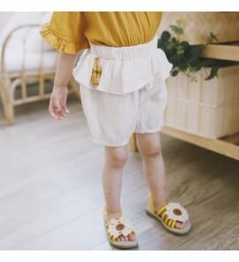 Kids Children Girl Plain Color Casual Cotton Linen Short Pants Trouser