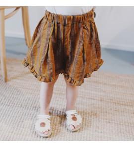 Kids Children Girl Brown Line Elastic Waist Long Pants Trousers
