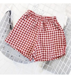 Kids Children Girl Red Grid Classic Casual Short Pants Trousers