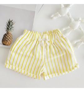 Kids Children Girl Casual Yellow Stripes Elastic Waist Short Pants Trousers