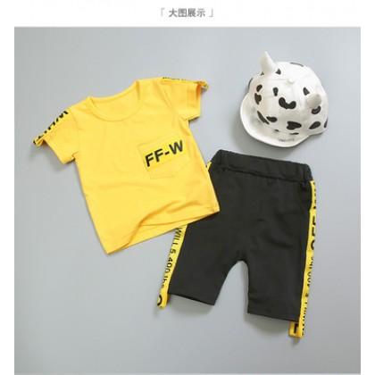 Kids Children Boy Korean Fashion T-Shirt and Short Pants Two Pieces One Set