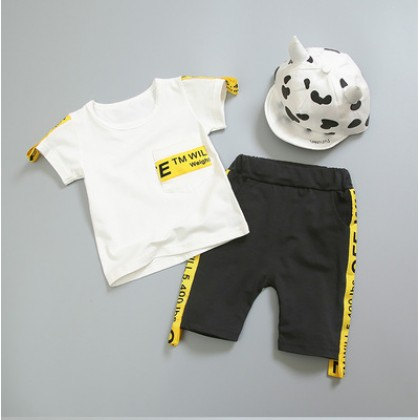 Kids Children Boy Korean Fashion T-Shirt and Short Pants Two Pieces One Set