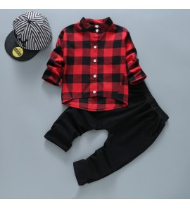 Kids Children Boy Super Value Classic Grid Shirt and Pants Two Pieces One Set