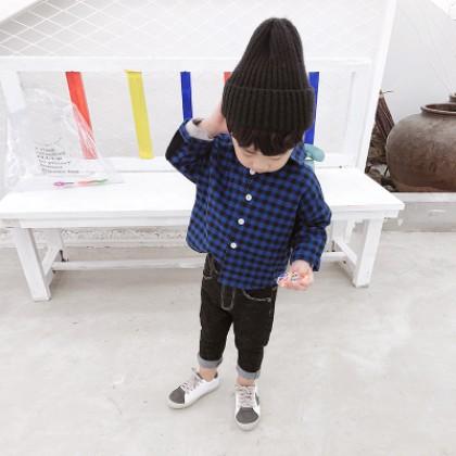 Kids Children Boy Blue Classic Formal Shirt Casual Long Sleeve Tops Shirts