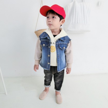Kids Children Boy Blue Denim Jeans Casual Long Sleeve Jacket Coat