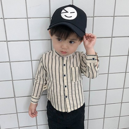 Kids Children Boy Casual Stripes Formal Pocket Long Sleeve Tops Shirts