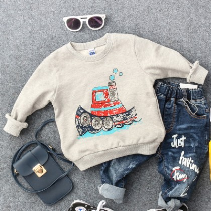 Kids Children Boy Car Grey Cruise Round Neck Long Sleeve T-Shirt Tops