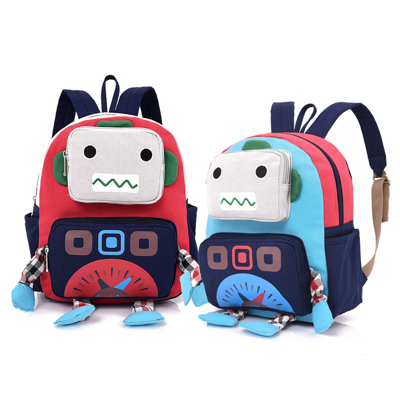 Kids Children Boy Casual Outing Cool Korean Style Robots Student Backpack