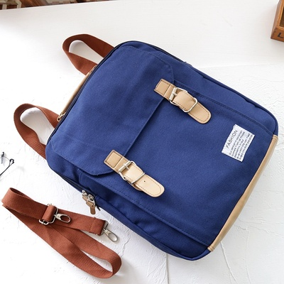 Kids Children Boy Casual Outing Cool Blue Plain Canvas Students Backpack