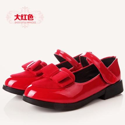 Kids Children Girl Cute PU Leather Shiny Ribbon Low Heels Casual Outing Shoes