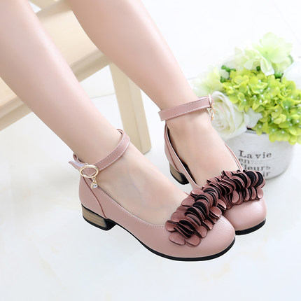 Kids Children Girl Cute Korean Flower Buckle Heels Round Casual Outing Shoes