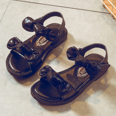 Kids Children Girl Cute Black Double Ribbons Sandals Outing Shoes