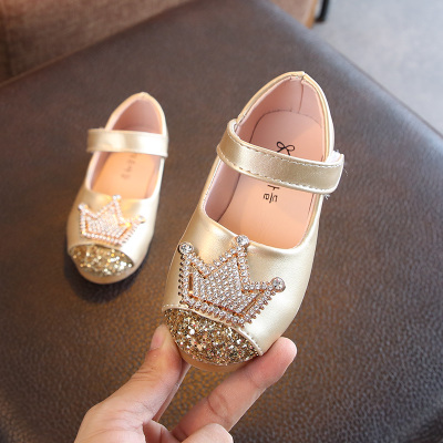 Kids Children Girl Cute Shiny Crown Princess Flats Casual Outing Shoes