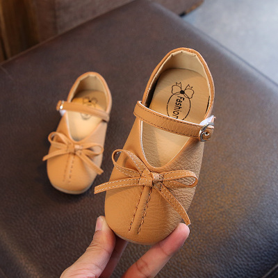Kids Children Girl Cute PU Leather Retro Ribbon Buckle Casual Outing Shoes