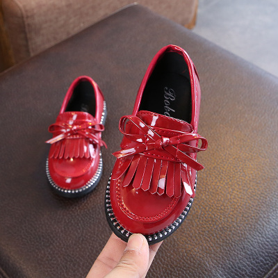 Kids Children Girl Cute Tassel Shiny PU Leather Casual Outing Shoes
