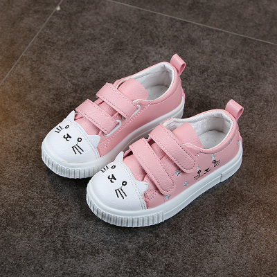 Kids Children Girl Cute Kitty Cat Velcro Sneakers Casual Outing Shoes