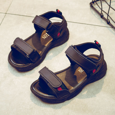 Kids Children Boy Cool Black Velcro Sandals Slippers Casual Outing Shoes