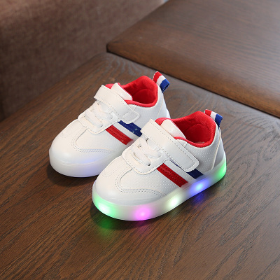 Kids Children Boy Cool Shiny LED Sole Line Sports Running Casual Outing Shoes