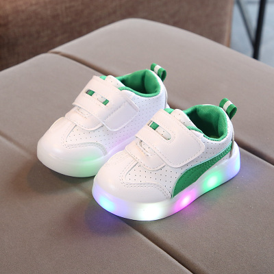 Kids Children Boy Cool Shiny LED Sole Plain Sports Running Casual Outing Shoes