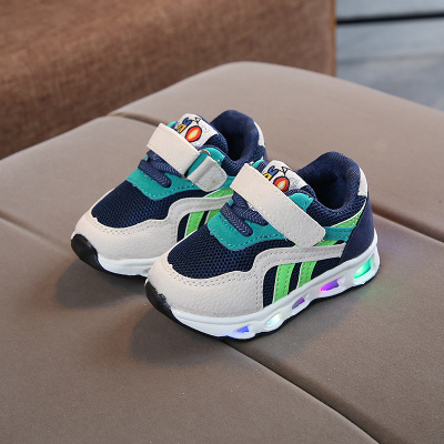 Kids Children Boy Cool LED Sole Mixed Color Sports Running Casual Outing Shoes