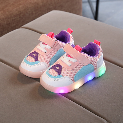 Kids Children Boy Cool A LED Mixed Color Sole Sports Running Casual Outing Shoes