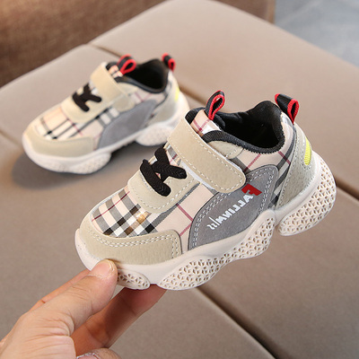 Kids Children Boy Cool Grid Velcro Running Sports Casual Outing Shoes