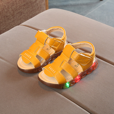 Kids Children Boy Cool Yellow PU Leather LED Sandals Casual Outing Shoes