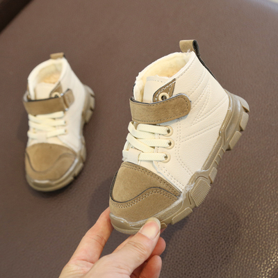 Kids Children Boy Cool Winter Furry Velcro Lacing Up Boots Casual Outing Shoes