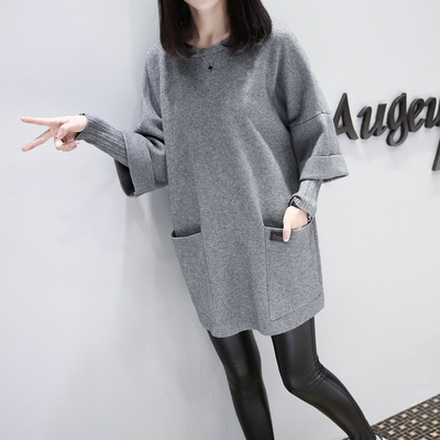 Women Casual Plus Size Keep Warm Long Sleeve Big Pockets Maternity Dress