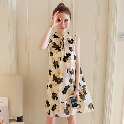 Women Casual Flora Chiffon Sleeveless A Shape Maternity Dress