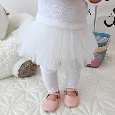 Baby Cute Girl White Elastic Mesh with Leggings Long Pants