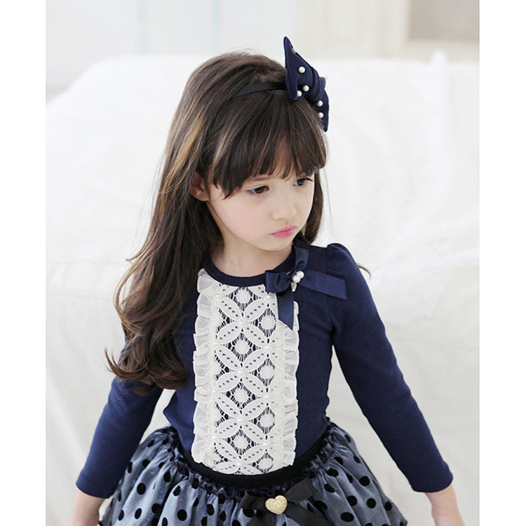 Kids Children Girl Cute Lace Ribbon Long Sleeve Round Neck T-Shirt