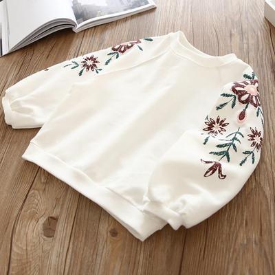 Kids Children Girl Cute Flora Embroidery Long Sleeve Round Neck T-Shirt