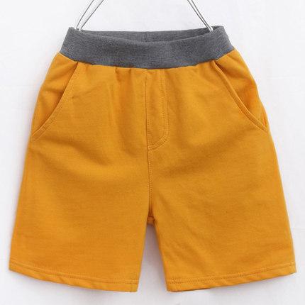 Kids Children Boy Plain Color Elastic Waist Pockets Short Pants