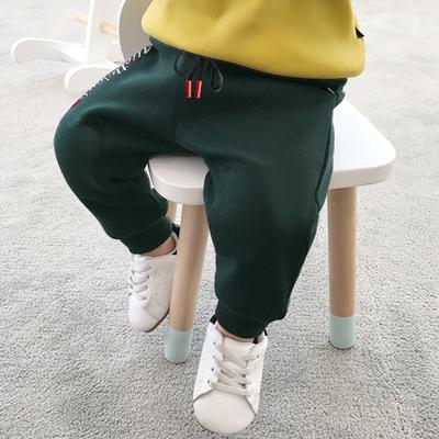 Kids Children Boy Plain Color Elastic Waist Pockets Korean Long Pants