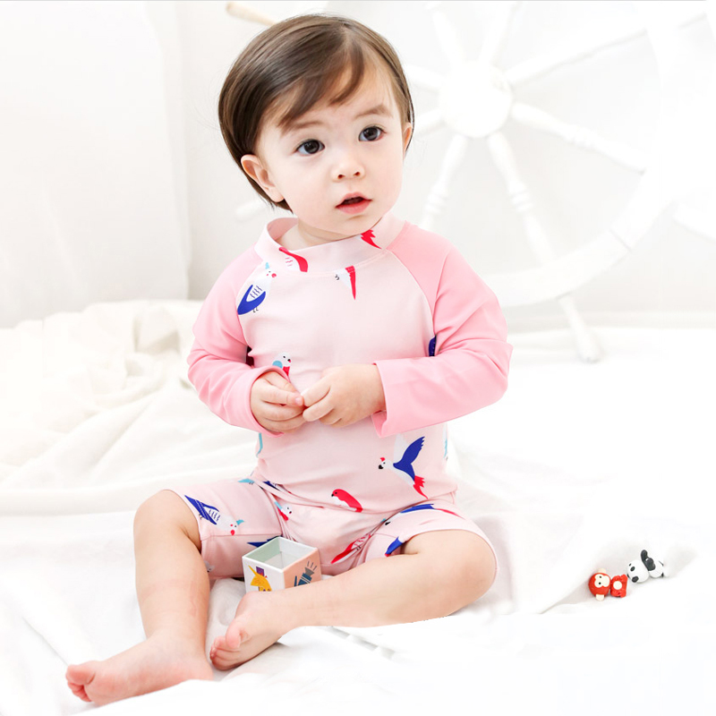 Baby Infant Children's Long-Sleeved Girls Sunscreen Swimsuit