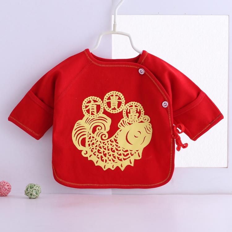 Baby Newborn Big Red Boneless Half Back Shirt Autumn Winter Clothes Tops