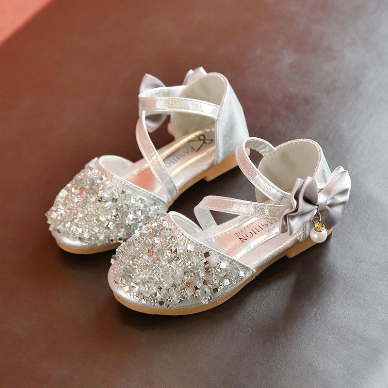 Kids Children Girl Sandals Summer Sequins Dance Shoes