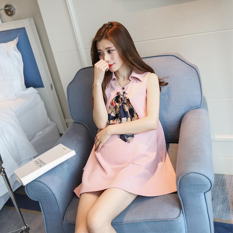 Women Korean Pregnant Loose Sleeveless Vest Skirt Maternity Dress